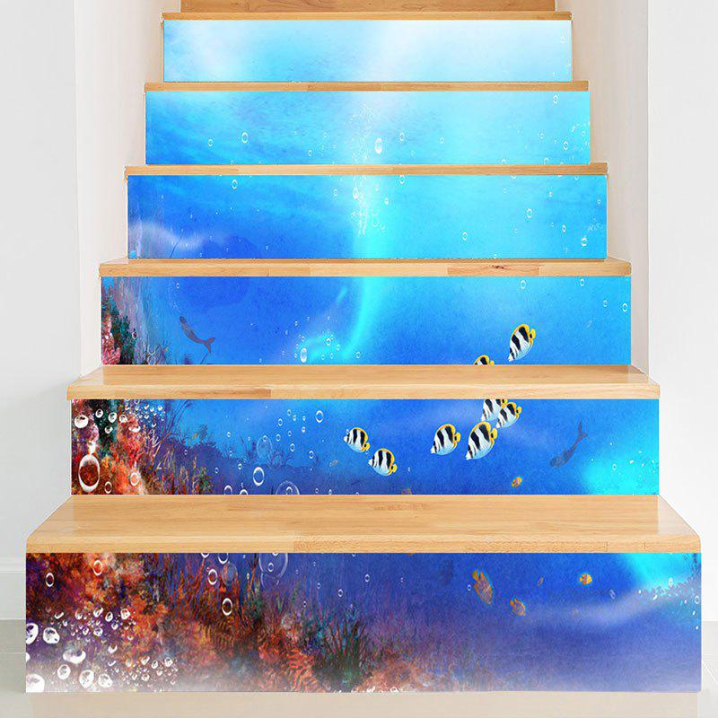 Sea World Fish Pattern Decorative Stair Stickers - BLUE 100*18CM*6PCS