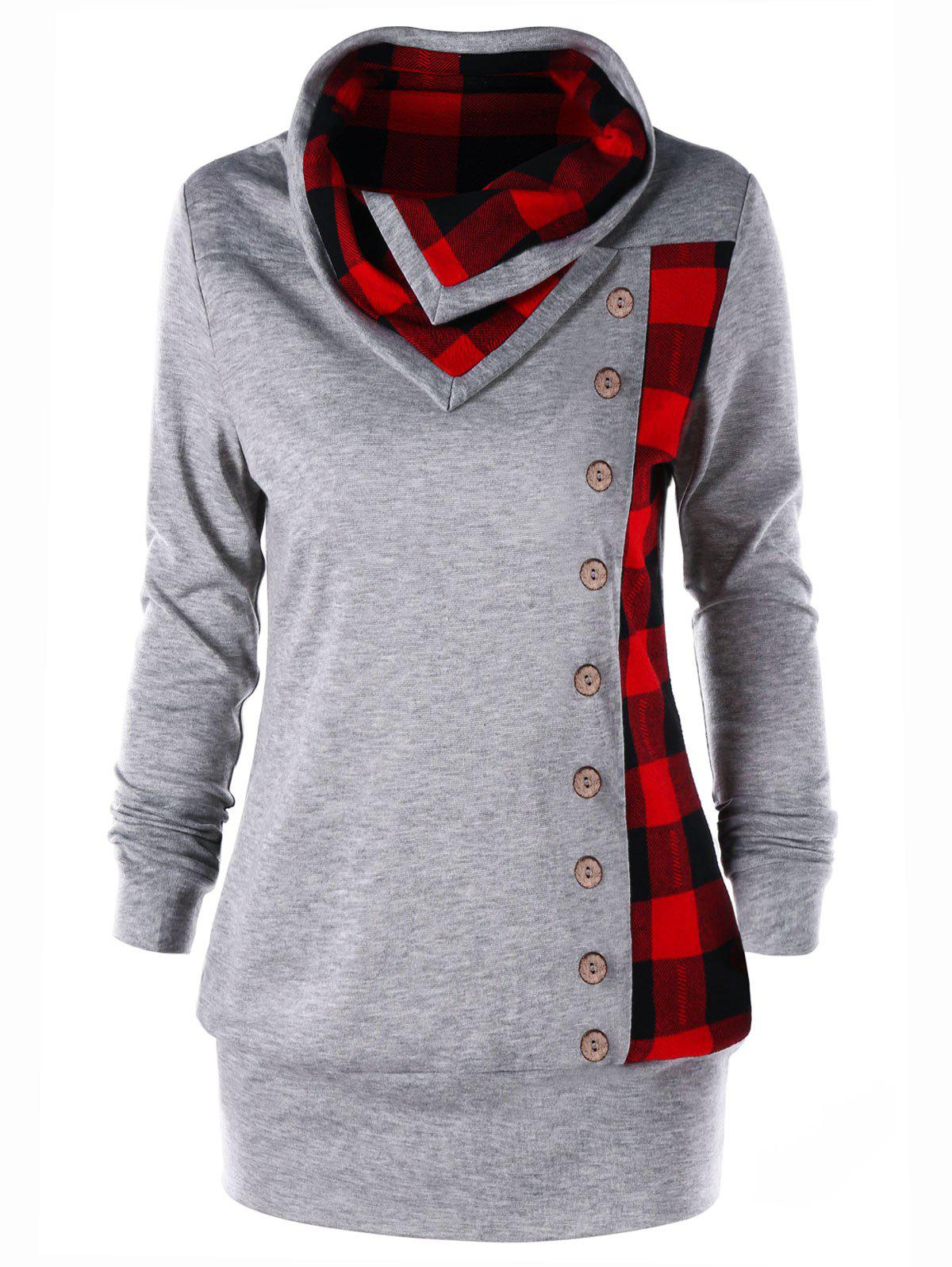 Plus Size Plaid Cowl Neck Tunic Sweatshirt - HEATHER GRAY 4XL