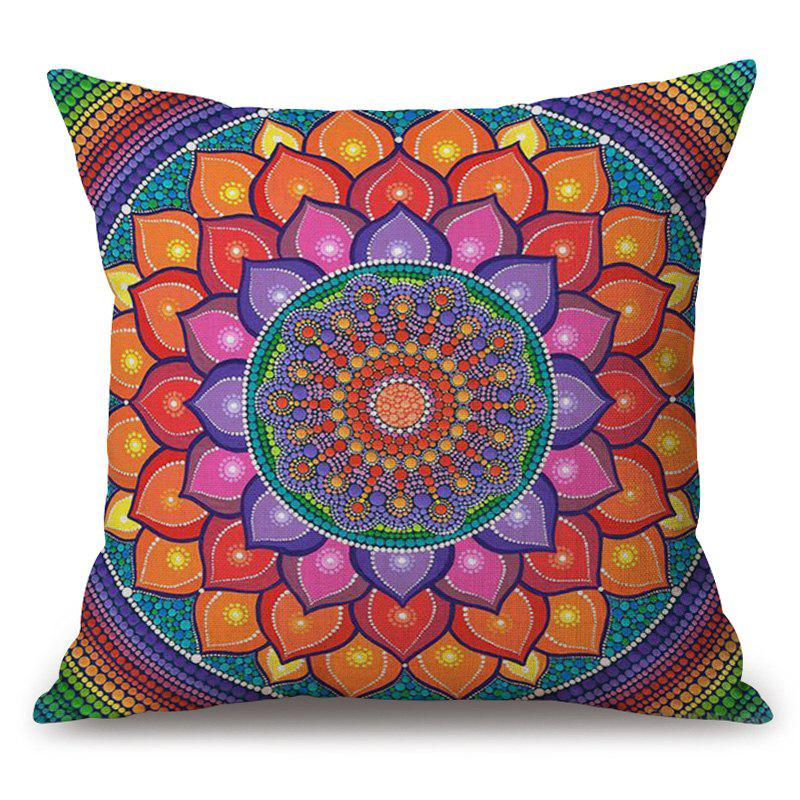 Flower Mandala Pattern Cotton Linen Throw Pillow Case