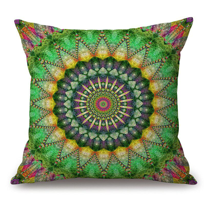 Mandala Print Cotton Linen Sofa Throw Pillow Case - GREEN 45*45CM