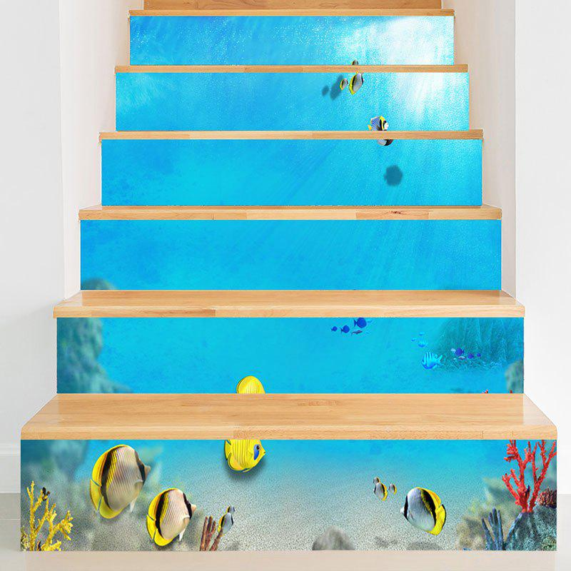 Undersea Fishes Stair Riser Stickers - BLUE 100*18CM*6PCS