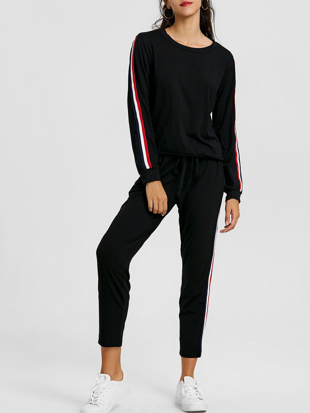Sweatshirt With Pants Striped Sweat Suits - BLACK XL