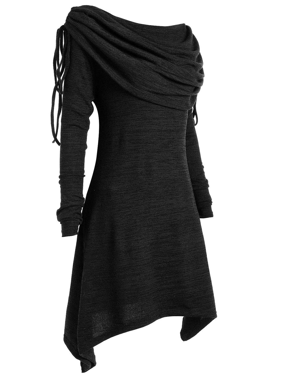 Plus Size Ruched Long Foldover Collar Top - BLACK XL