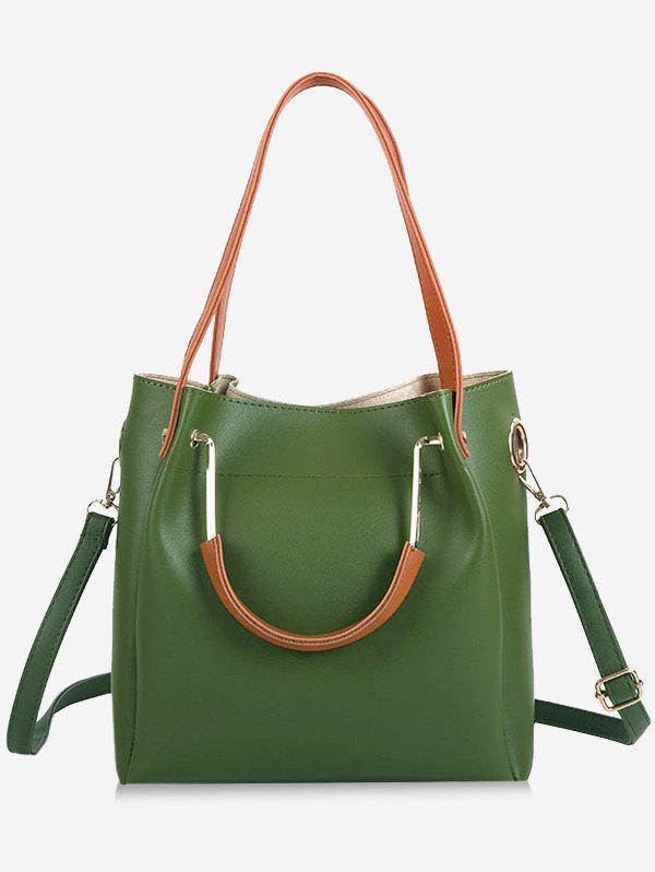 Multi Function Faux Leather Shoulder Bag - GREEN