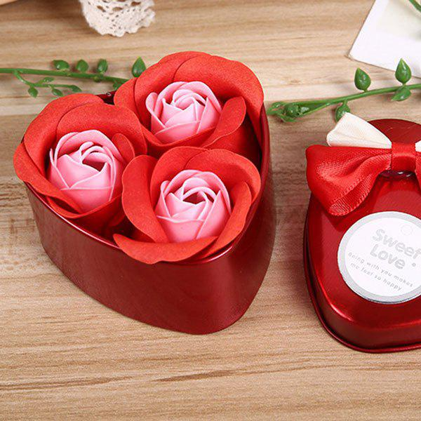 Valentine Confessions of Love Artificial Roses With Iron Box - WINE RED