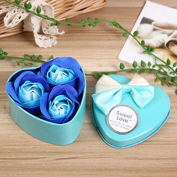 Valentine Gift Confessions of Love Artificial Roses With Iron Box - BLUE