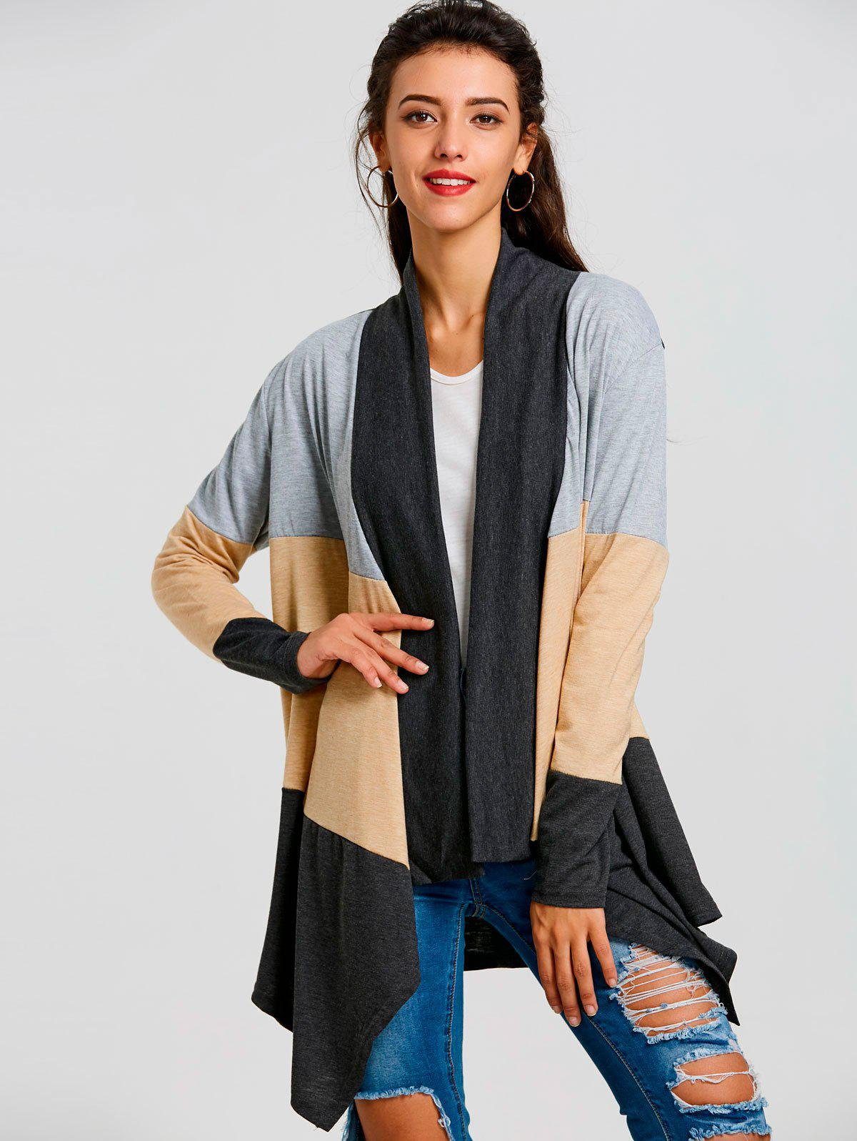 Color Block Striped Cardigan - BLACK XL