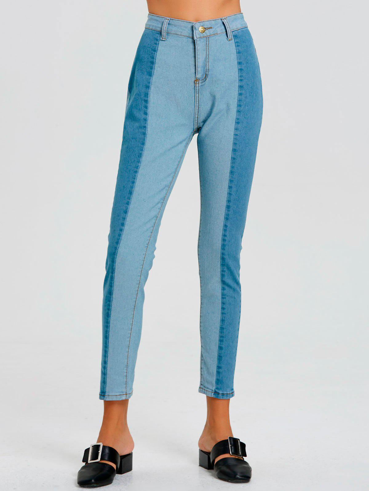 Color Block Striped Jeans - BLUE S