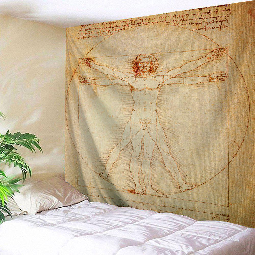 Naked Vitruvian Man Printed Wall Tapestry naked