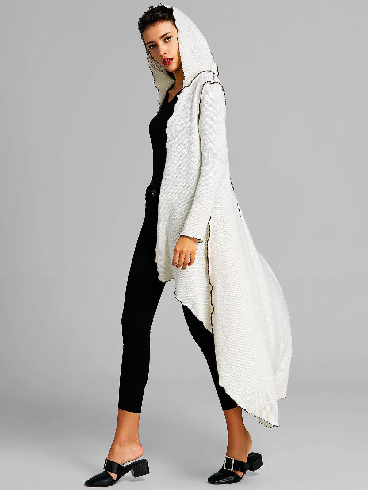 Hooded Scalloped High Low Maxi Coat - WHITE 2XL