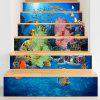 3D Sea World Print Stair Stickers - BLUE 100*18CM*6PCS
