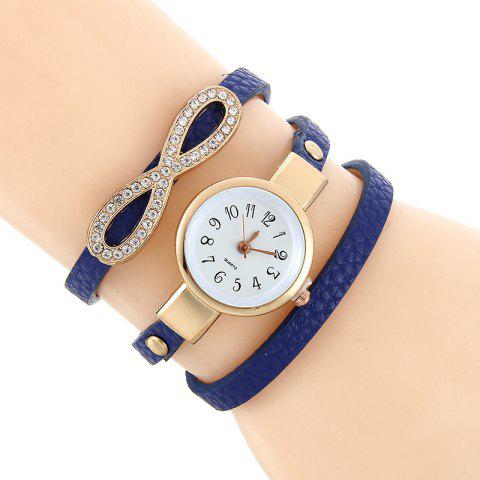 Faux Leather Infinite Wrap Bracelet Watch - BLUE