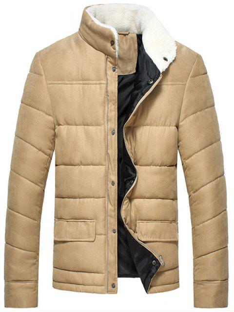 Flap Pocket Zipper Up Puffer Jacket - KHAKI L