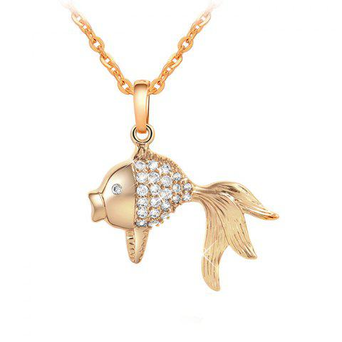 Rhinestone Goldfish Cute Pendant Necklace - GOLDEN