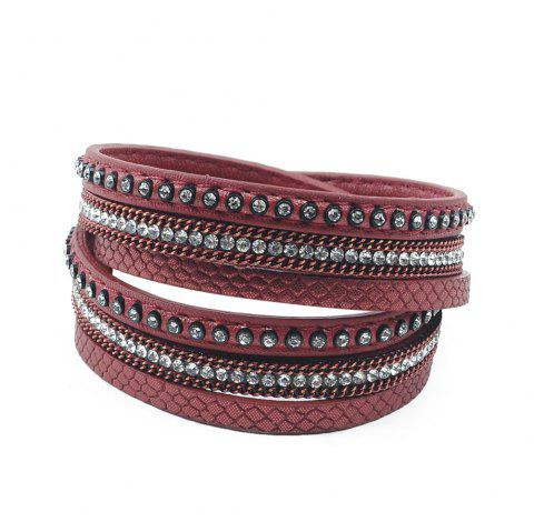 False Leather Layered Rhinestoned Wrap Bracelet - WINE RED
