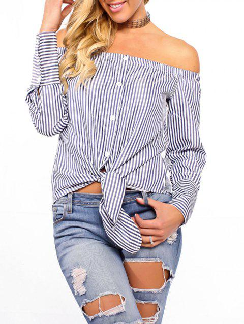 Off The Shoulder Striped Tie Up Blouse - CADETBLUE L