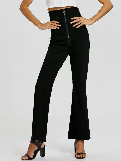 Zip Up Corset Boot Cut Flare Pants - BLACK M