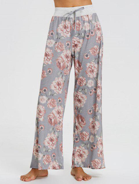 High Waisted Floral Palazzo Pants - FLORAL S