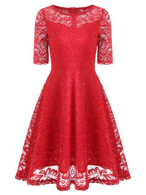 Fit and Flare Lace Vintage Dress - RED XL