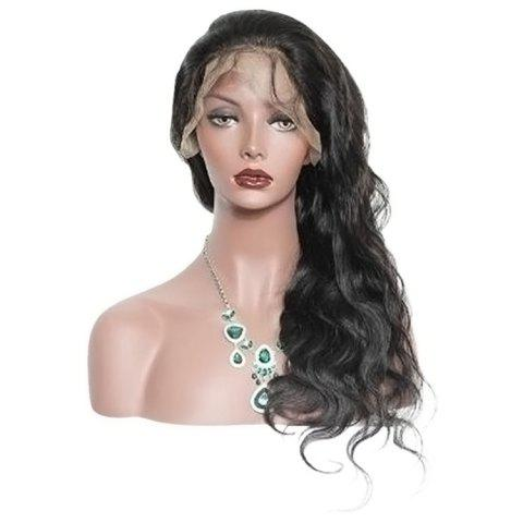 Long Free Part Synthetic Body Wave Lace Front Wig - BLACK