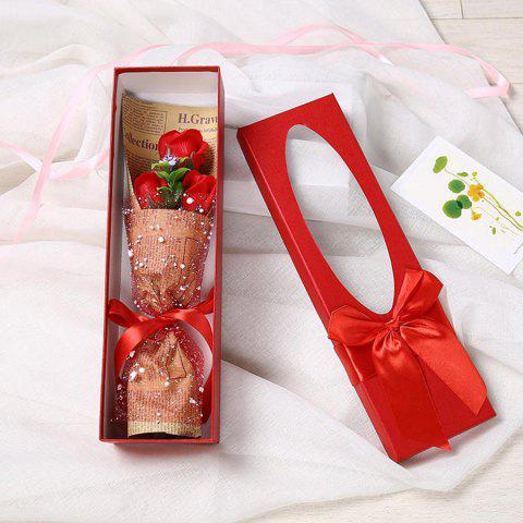 3 Scented Soap Roses Flower Bouquet Gift Box Valentine's Present - RED 34*10*6.5CM