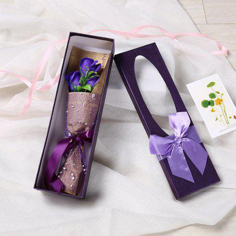 3 Scented Soap Roses Flower Bouquet Gift Box Valentine's Present - PURPLE 34*10*6.5CM