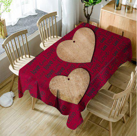 Nappe de Table Imperméable Imprimé Cœurs et Inscription Love - Rouge W60 INCH * L84 INCH