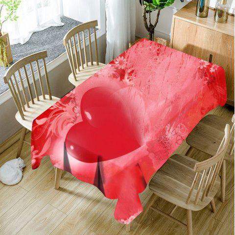 Valentine's Day Love Heart Printed Waterproof Table Cloth - RED W54 INCH * L72 INCH