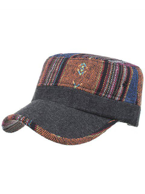 Vintage Ethnic Style Flat Top Military Hat - 01