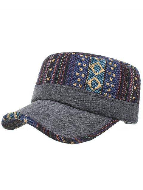 Vintage Ethnic Style Flat Top Military Hat - 03