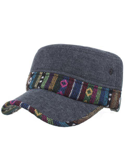 Ethnic Style Pattern Flat Top Adjustable Military Hat - 02