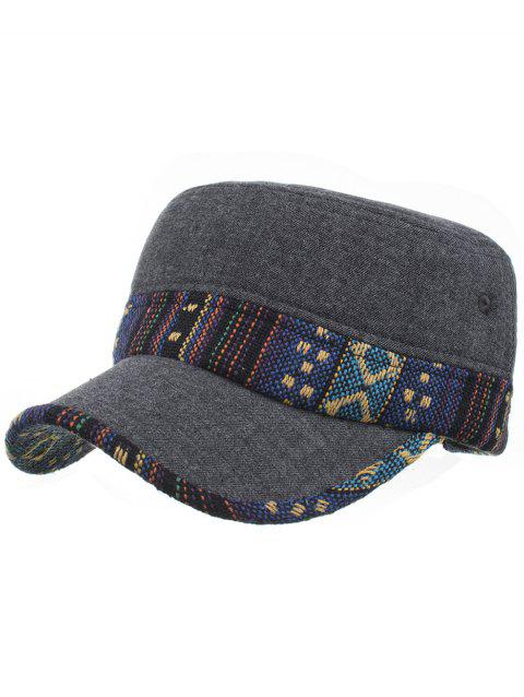 Ethnic Style Pattern Flat Top Adjustable Military Hat - 04