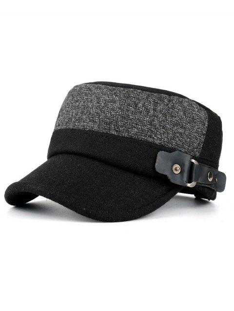 Outdoor Flat Top Button Military Hat - BLACK