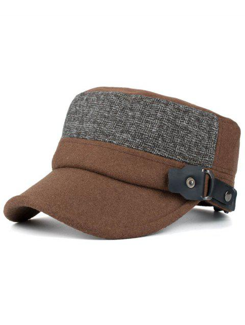 Outdoor Flat Top Button Military Hat - COFFEE