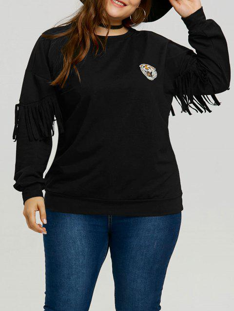 Plus Size Tiger Patch Fringe Sleeve Sweatshirt - BLACK 5XL
