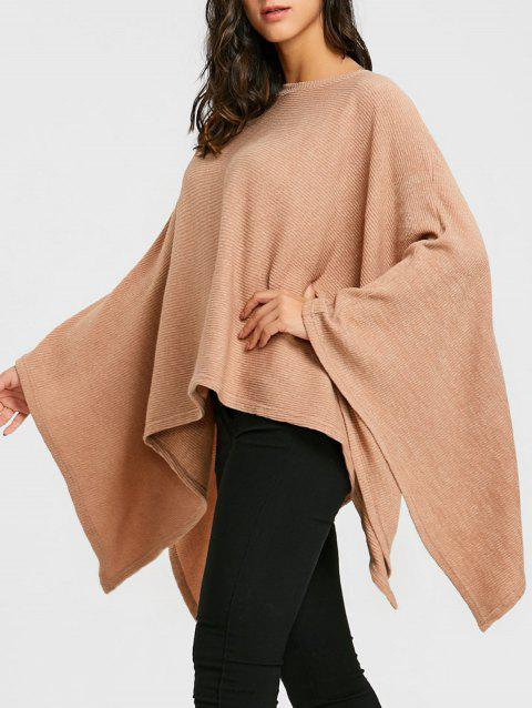 Batwing Sleeve Oversized Poncho Sweater - KHAKI ONE SIZE