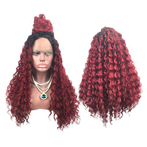 Long Side Parting Colormix Fluffy Deep Wave Lace Front Synthetic Wig - BLACK/WINE RED C5