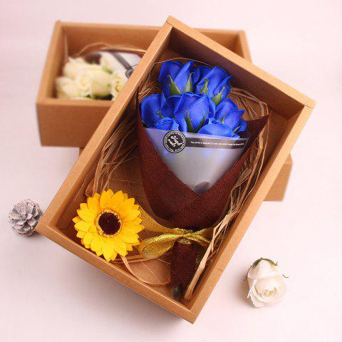 7pcs Roses Flower Bouquet Scented Soap Gift Box Valentine's Present - BLUE