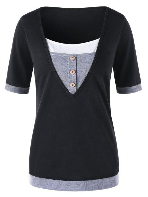 Short Sleeve Panel T-shirt with Button - BLACK M