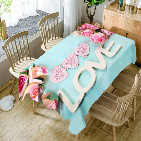 Valentine's Day Roses Love Hearts Patterned Waterproof Table Cloth - CLOUDY W60 INCH * L84 INCH