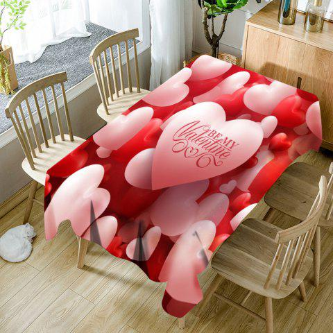 Nappe de Table Imperméable Motif Cœurs et Inscription Be My Valentine - Rouge et Rose W54 INCH * L72 INCH