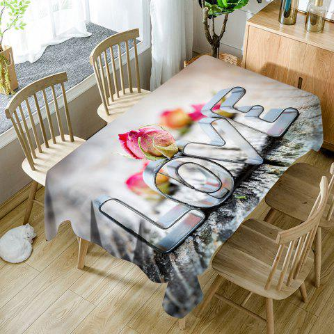 Valentine's Day Love Pattern Waterproof Fabric Table Cloth - COLORMIX W60 INCH * L84 INCH