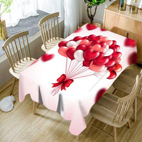 Valentine's Day Heart Balloons Printed Waterproof Table Cloth - COLORMIX W60 INCH * L84 INCH