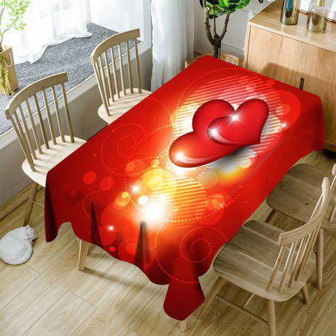 Valentine's Day Hearts Pattern Waterproof Table Cloth - RED W60 INCH * L84 INCH