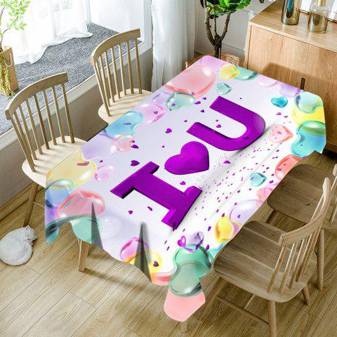 Valentine's Day I Heart U Printed Waterproof Table Cloth - COLORFUL W60 INCH * L84 INCH