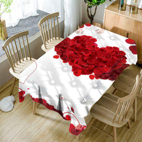 Valentine's Day Petals Double Hearts Patterned Waterproof Table Cloth - COLORMIX W60 INCH * L84 INCH