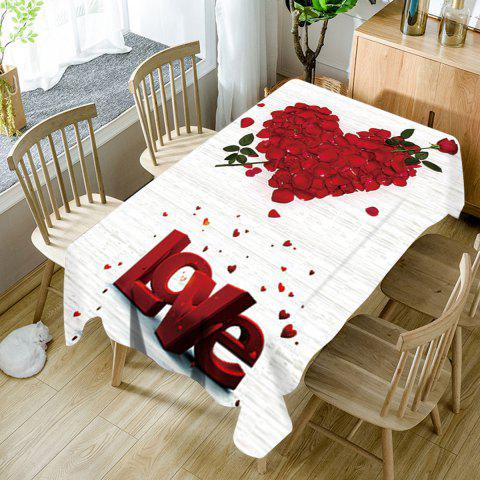 Rose Petals Heart Love Patterned Valentine's Day Waterproof Table Cloth - RED/WHITE W54 INCH * L72 INCH