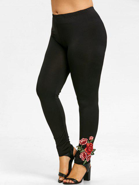Soft Plus Size Floral Embroidered Pants - BLACK XL