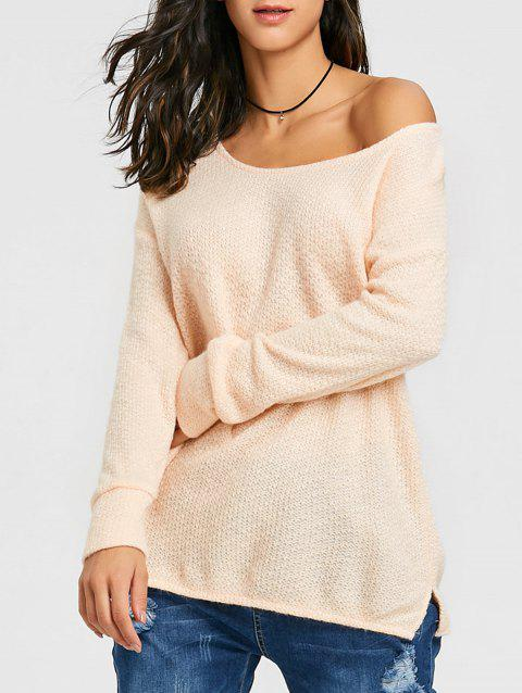 Skew Neck Tunic Knitwear - PINK XL