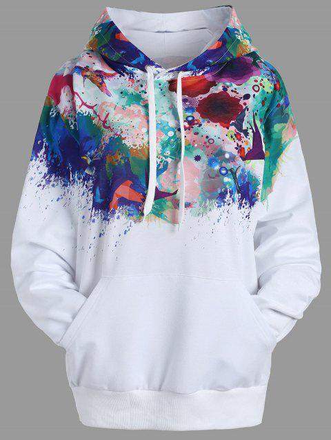 Kangaroo Pocket Ink Painting Hoodie - WHITE XL